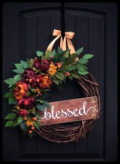 Autumn Wreath, Fall Wreaths for Front Door, Fall Wreathes, Autumn Decor, Autumn Wreaths, Thanksgiving Decor, Farmhouse, Blessed Sign Fall Wreaths for Front Door, Fall Wreathes, Autumn Decor, Autumn Wreaths, Thanksgiving Decor, Front Door Wreaths, Farmhouse, Fall Door Decor This gorgeous Fall wreath has a final diameter of 23-24\u201d. It\u2019s built on an 18\u201d grapevine wreath base. Lots of ficus leave stems are the base of the greenery. Rich colored Burgundy, Red, and gold Peonies and…