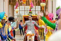 colorful mehendi, groom on cycle rickshaw