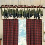Arrowhead Plaid Bear Lined Valance - A Black Forest Décor Exclusive - Fishing bears and buffalo plaid bring the ultimate outdoor look to this lined valance. Log Cabin Homes, Log Cabins, Black Forest Decor, Bear Rug, Rustic Curtains, Cozy Cabin, Quilt Bedding, Guest Bedrooms, Bedding Collections