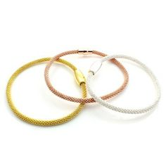 Brand new Clio Blue sterling silver bracalets in silver, gold and rose gold featuring a sleek magnetic closure. Love!