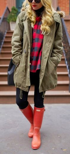 Oversized Military Jacket  + Coral Hunter Boots