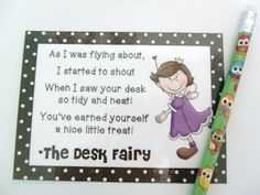 Desk Fairy FREEBIE! In my classroom  the desk fairy is bad and takes their missing work lol
