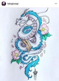 22 Badass Dragon tattoos for girls - Jordyn Laine - #badass #dragon #girls #jordyn #laine #tattoos Tatuaje Studio Ghibli, Studio Ghibli Tattoo, Studio Ghibli Art, Body Art Tattoos, Tattoo Drawings, Girl Tattoos, Tatoos, Zwilling Tattoo, Tattoo Samurai
