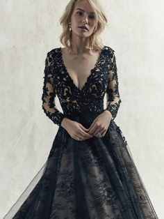 Wedding Dress Photos - Find the perfect wedding dress pictures and wedding gown photos at WeddingWire. Browse through thousands of photos of wedding dresses. Black Wedding Gowns, Long Sleeve Wedding, Wedding Dress Sleeves, Colored Wedding Dresses, Boho Wedding Dress, Dresses With Sleeves, Gothic Wedding, Gown Wedding, Black Weddings