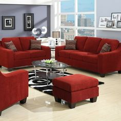 Living room - THIS red furniture looks awesome! Color ideas