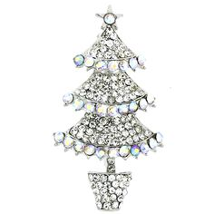 Triple Tier Crystal AB Christmas Tree Brooch Silver