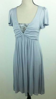 31e9ddd74f3a Delirious Love Los Angeles Women's Medium Dress Gray Short Sleeve  Embellished #DeliriousLove #Trapeze #