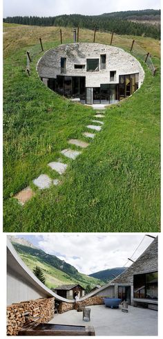 This unique home called Villa Vals was built directly into the hillside in Vals, Switzerland. The design is by Christian Muller Architects and SeARCH. The home is located within walking distance to the famous thermal bath of Vals. You can book a stay in Villa Vals here.