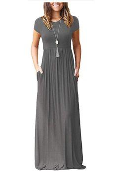 Formal Dresses - Women Short Sleeve Loose Plain Maxi Dresses Casual Long Dresses With Pockets Maxi Dress With Sleeves, Short Sleeve Dresses, Long Dresses, Long Sleeve, Short Sleeves, Formal Dresses, Teal Dresses, Summer Dresses, Formal Wear