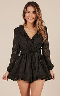 Black dresses classy - Rainbow Chaser Playsuit In Black Produced – Black dresses classy Long Fall Dresses, Dresses Short, Modest Dresses, Tight Dresses, Elegant Dresses, Pretty Dresses, Casual Dresses Plus Size, Casual Dresses For Women, Rock Chic