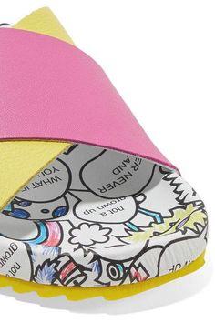 Mira Mikati - Rainbow Monster Printed Textured-leather Slides - White - IT35