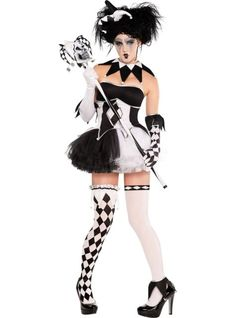Tricksterina Costume for Women - Party CityThis beautiful ballerina has a wicked sense of humor! Our Tricksterina Costume for women features a silver-trimmed corset with a center-back zipper and black and white panels extending from the bust with a jester spike hem and pom-poms. Pirouette to your heart's content in the fluffy layered black and white tutu and boy shorts. Amp up the flirty jester look with included sexy