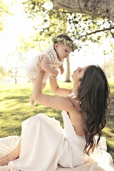 Love this baby girl with her flower crown! Flower power! - Such a cute photography idea for when the baby is born!