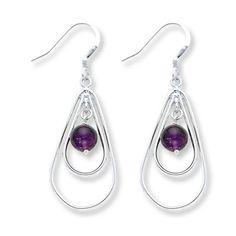 Amethyst Dangle Earrings Sterling Silver