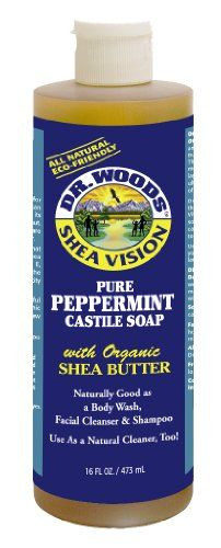 Dr Woods Pure Peppermint Castile Soap Pack of 12 ** Details can be found by clicking on the image. (This is an affiliate link) Beard Balm, Natural Cleaners, Castile Soap, Laundry Detergent, Facial Cleanser, Hair Oil, Body Wash, Shea Butter, Peppermint