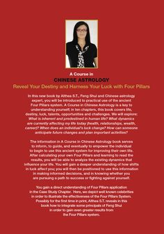 Feng Shui, Four Pillars – Ba Zi, Xuan Kong Da Gua: Books, Courses and Consultations by Althea S. Astrology Books, Answer To Life, Chinese Astrology, Life Challenges, My Destiny, Soul Searching, Bettering Myself, Understanding Yourself, Feng Shui