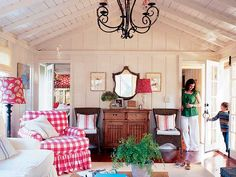Red and White Living Room