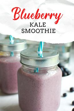Blueberry Kale Smoothie is a nutritious way to start your day or mid-day snack. Blueberries, banana, Greek yogurt, milk and kale are blended together into a sweet smoothie. This is a kid and adult favorite in my house full of antioxidants! Smoothie Recipes For Kids, Healthy Smoothies, Drink Recipes, Healthy Snacks, Cooking Recipes, Healthy Eats, Healthy Recipes, Delicious Dinner Recipes, Yummy Food