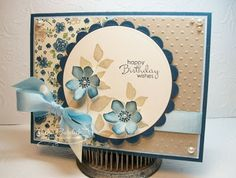 Stampin Up Secret Gardenset. I stamped my flowers with Bashful Blue ink and then sponged with Midnight Muse.  The leaves are stamped with Crumb Cake.  The sentiment is from the Stampin Up Petite Pairs stamp set.