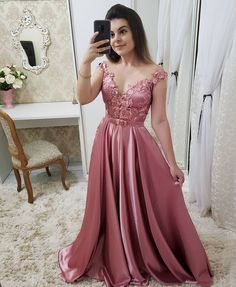 prom dresses Evening Dress Long 2019 Satin Appliques Elegant Formal Dress sold by Everbeauties Prom Dress on Storenvy Prom Dresses Long Pink, Best Prom Dresses, Dresses For Teens, Pretty Dresses, Bridesmaid Dresses, Formal Dresses, Evening Dress Long, Evening Dresses, Party Frocks