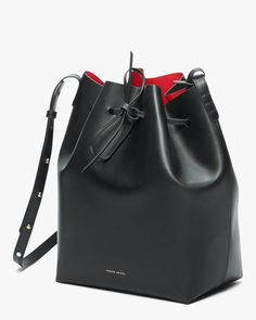 Luxury Handbags, Purses And Handbags, Leather Handbags, Designer Handbags, Calf Leather, Leather Bag, Black Leather Purses, Soft Leather, Mansur Gavriel Bucket Bag