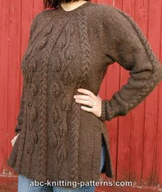 ABC Knitting Patterns - Cables and Leaves Tunic.FREE pattern ♥4500 FREE patterns to knit ♥: http://www.pinterest.com/DUTCHKNITTY/share-the-best-free-patterns-to-knit/