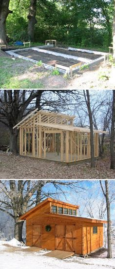 Wood Garden Shed (And with a little modification , it can be called a tiny home ! shed design shed diy shed ideas shed organization shed plans Diy Storage Shed Plans, Outdoor Storage Sheds, Outdoor Sheds, Storage Ideas, Small Storage, Carport Storage, Diy Storage Building, Vertical Storage, Backyard Sheds