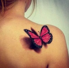Butterflies like this, but three instead of one (each one symbolizing a person close to me that's passed - grandma, grandpa, and Mel), a soft purple instead of pink, & on my upper right chest instead of on my back
