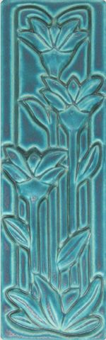 "4x12"" Medium Floral PEWABIC POTTERY of Detroit"