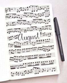 12 Music Themed Bullet Journal Spreads – - My Great Pins Bullet Journal August, Bullet Journal Spreads, Bullet Journal Monthly Spread, Bullet Journal Cover Page, Bullet Journal Books, Bullet Journal School, Bullet Journal Inspo, Bullet Journal Layout, Journal Guide