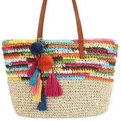 Daisy Rose Large Straw Beach Tote Bag with Pom Poms and Inner Pouch -Vegan Leather Handles Straw Beach Tote, Beach Tote Bags, Straw Bag, Crochet Diy, Crochet Bags, Summer Knitting, Summer Bags, Knitting Accessories, Cotton Bag