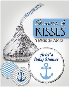 Nautical chevron hershey kiss labels anchor boy baby shower favors