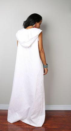 Linen Maxi Dress / Sleeveless White Dress with hood : di Nuichan