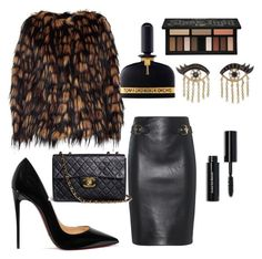 """""""Untitled #247"""" by londonhendrix on Polyvore featuring Dries Van Noten, Moschino, Christian Louboutin, Kat Von D, Tom Ford, Chanel, Sydney Evan and Bobbi Brown Cosmetics"""