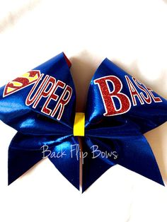 Show your Super Powers! You are a Super Base! Cheer bow on blue mystique and 3…