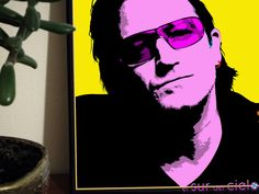 Retrato de Bono convertido en arte pop. Podemos hacer lo mismo con tus fotografías favoritas http://www.elsurdelcielo.com