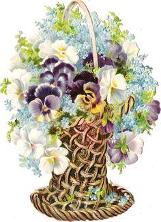 Oblaten Glanzbild scrap die cut chromo Blumen Korb 17cm flower basket fleur