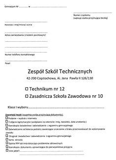 Rekrutacja 2016/2017 | Zespół Szkół Technicznych w Częstochowie