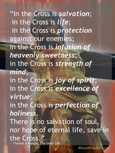 """""""In the Cross is salvation; in the Cross is life; in the Cross is protection against our enemies; in the Cross is infusion of heavenly sweetness; in the Cross is strength of mind; in the Cross is joy of spirit; in the Cross is excellence of virtue; in the Cross is perfection of holiness. There is no salvation of soul, nor hope of eternal life, save in the Cross."""" ―Thomas à Kempis,The Inner Life"""