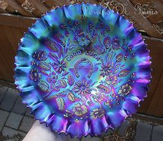 *NORTHWOOD ~ Killer Electric, Carnival Glass Blue Good Luck Bowl Pce Free Shipping