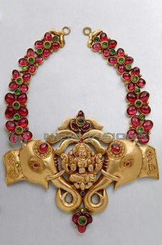 antique necklace with elephant pendant South Indian Jewellery, Indian Jewellery Design, Latest Jewellery, Jewelry Design, Antic Jewellery, India Jewelry, Temple Jewellery, Gold Jewelry, Jewelry Rings