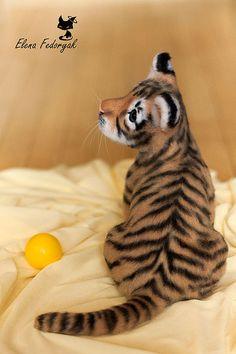 Купить тигренок Скай - тигр, тигренок, войлочная игрушка, валяная игрушка, авторская игрушка, кот