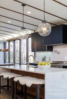 14 Insane Midcentury Modern Kitchen Decor Ideas -mixing up materials (wood vs white vs gray) Modern Kitchen Cabinets, Modern Farmhouse Kitchens, Kitchen Cabinet Design, Kitchen Island, Open Kitchen, Modern Kitchen Lighting, Kitchen Lighting Fixtures, Light Fixtures, Kitchen Industrial
