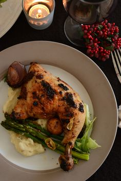 Roast Chicken with Vegemite Masala (with Chilli Garlic Asparagus and Cumin spiced Mashed Potatoes) | The Spice Adventuress