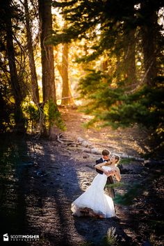 Bride & groom in a forest on their wedding at a Ehrman Mansion wedding at Lake Tahoe.