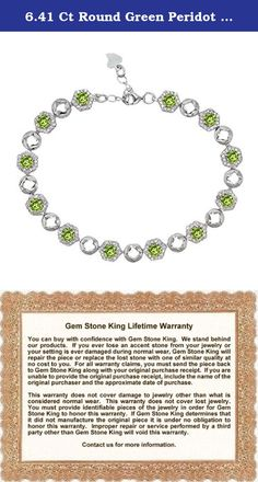 6.41 Ct Round Green Peridot 925 Sterling Silver Bracelet. Beautiful and brilliant pair our Peridot bracelet with career or weekend outfits. Featuring a radiant flawless 925 Sterling Silver finish. This item is perfect for any event and holiday. The secure fit promises carefree wear and stability, while the appearance ensures that this bracelet will be the center of attention on any ensemble. As always with all of our products this item comes in packaging making it ready for gifting as…