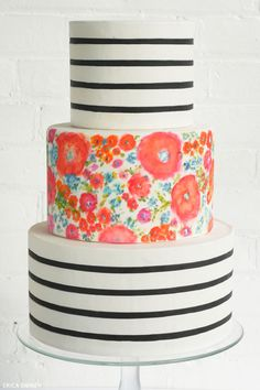 Stripes  Florals | Translating Trends into Cake Designs | Erica OBrien for TheCakeBlog.com