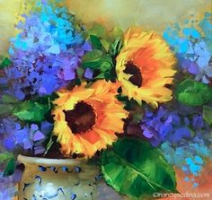 Packing for France and Sunflower Sojourn - Flower Paintings by Nancy Medina, painting by artist Nancy Medina