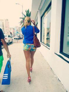 love-- Floral shorts, cobalt shirt, heels