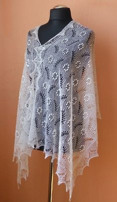 White hand knitted Haapsalu shawl from merino wool